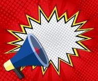 Abstrakte Sprache-Blasenpop-art des Boomfreien raumes, Comic-Buch auf rotem Hintergrund stock abbildung