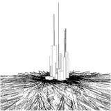 Abstrakte städtische Stadt-Wolkenkratzer auf Chaos-Boden Stockfotografie