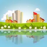 Abstrakte Stadt des Vektors nachgedacht über das Wasser Stockbilder