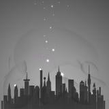 Abstrakte Stadt mit Sternen Stockfoto