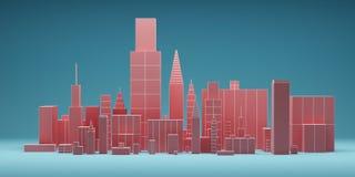 Abstrakte Stadt mit Wolkenkratzerhintergrund, futuristisches Stadtpanorama Abbildung 3D Stockfoto