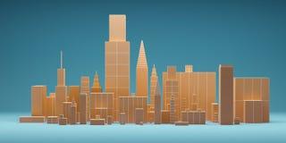 Abstrakte Stadt mit Wolkenkratzerhintergrund, futuristisches Stadtpanorama Abbildung 3D Stockbilder