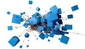 Abstrakte Struktur der Masche und des Netzes lokalisiert über weißem Hintergrund Stockfotografie