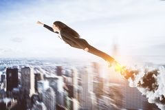 Abstrakte Superheldgeschäftsfrau stockfoto