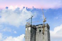 Abstrakte Szene des im Bau Gebäudes Stockfotos