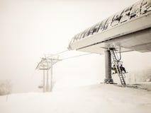 Abstrakte Szenen am Skiort während des Schneesturms Lizenzfreie Stockbilder