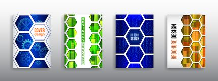 Abstrakte Technologieabdeckung mit Hexagonelementen lizenzfreies stockbild