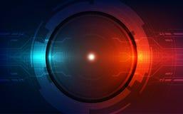Abstrakte Technologiechipprozessorhintergrund-Leiterplatte und HTML-Code, Technologie-Hintergrundvektor der Illustration 3D blaue Stockfotografie