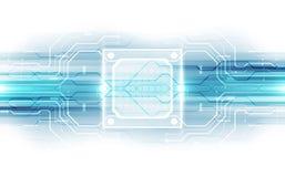 Abstrakte Technologiechipprozessorhintergrund-Leiterplatte und HTML-Code, Technologie-Hintergrundvektor der Illustration 3D blaue Lizenzfreie Stockbilder