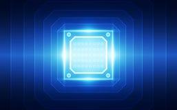 Abstrakte Technologiechipprozessorhintergrund-Leiterplatte und HTML-Code, Technologie-Hintergrundvektor der Illustration 3D blaue Lizenzfreies Stockbild