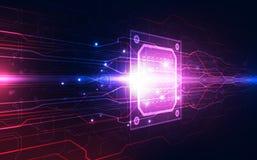 Abstrakte Technologiechipprozessorhintergrund-Leiterplatte und HTML-Code, Technologie-Hintergrundvektor der Illustration 3D blaue Stockfotos