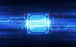 Abstrakte Technologiechipsetprozessorhintergrund-Leiterplatte und HTML-Code, Technologie-Hintergrundvektor der Illustration 3D bl Stockfotos