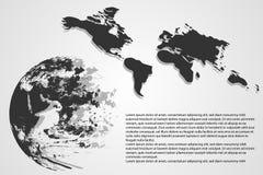 Abstrakte Technologiekonzeptwelt und -karte High-Tech auf grauem backgr vektor abbildung