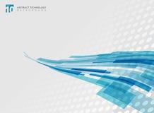 Abstrakte Technologiekurve überschnitt die geometrische blaue Quadratform Lizenzfreies Stockbild