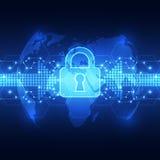 Abstrakte Technologiesicherheit auf Hintergrund des globalen Netzwerks, Vektorillustration Lizenzfreie Stockfotografie
