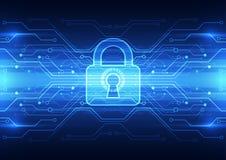 Abstrakte Technologiesicherheit auf Hintergrund des globalen Netzwerks, Vektorillustration