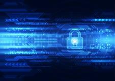 Abstrakte Technologiesicherheit auf Hintergrund des globalen Netzwerks, Vektorillustration Lizenzfreie Stockbilder
