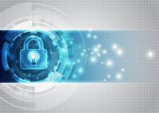 Abstrakte Technologiesicherheit auf Hintergrund des globalen Netzwerks, Vektorillustration Lizenzfreies Stockbild