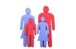 Abstrakte traditionelle vierköpfige Familie Konzeption von Familie relati Lizenzfreie Stockbilder