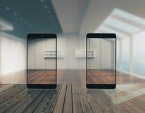 Abstrakte transparente Smartphones Stockbilder
