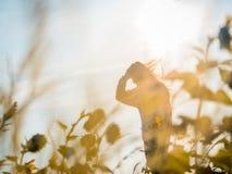 Abstrakte Unschärfe: Schattenbild von der jungen langen Haarfrau mit winte lizenzfreie stockbilder
