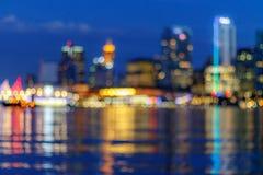 Abstrakte Unschärfe von Vancouver-Skylinen an der Dämmerung Lizenzfreies Stockfoto