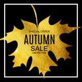 Abstrakte Vektor-Illustration Autumn Sale Background mit fallendem Autumn Leaves Lizenzfreies Stockfoto