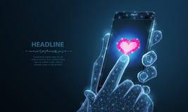 Abstrakte Vektor Illustration von Smartphoneherz-Ikone App Lokalisierter Hintergrund Valentinstag, die Romanze Liebe, mögen stock abbildung