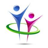 Abstrakte Vektor-Logoschablone der menschlichen Figuren Lizenzfreies Stockbild