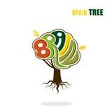 Abstrakte Vektorgehirnbaum-Logoschablone Denken Sie grünes Konzept Stockbild