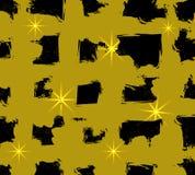 Abstrakte VEKTORschmutz-Hintergrundschablone mit den schwarzen und goldenen Überfahrtstreifen Nahtloses Muster lizenzfreie abbildung