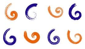 Abstrakte Vektorspiralenelemente, geometrische gestreifte radialmuster Stockbilder