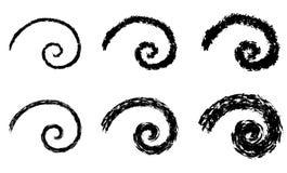 Abstrakte Vektorspiralenelemente, geometrische radialmuster lizenzfreie stockbilder