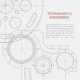 Abstrakte Vektortechnologie und Technikhintergrund mit technischem, mechanischem Zeichnen Lizenzfreies Stockbild