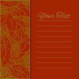 Abstrakte Vektorverzierung auf rotem Hintergrund Sie kann für die Verzierung von Hochzeitseinladungen, von Grußkarten, von Dekora Lizenzfreie Stockbilder