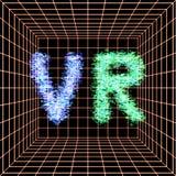 Abstrakte vr Welt mit Neonlinien Virtuelle Realität Vektor Lizenzfreie Abbildung