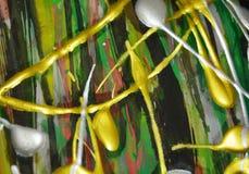 Abstrakte wächserne silbrige grünes Goldfarben, spritzt, Bürste streicht Aquarellfarbe Aquarellfarben-Zusammenfassungshintergrund Stockfotografie
