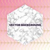 Abstrakte weiße Marmorbeschaffenheitskarte, Vector rosa Steigung mit Goldlinien Musterhintergrund, setzen Ihren Text Schablone fü vektor abbildung