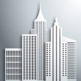 Abstrakte weiße Papierwolkenkratzer 3D Lizenzfreies Stockfoto