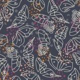 Abstrakte weiße Schmetterlings-Flügel auf dunkelgrauem Hintergrund mit bunter Akzent-Vektor-nahtlosem Muster Elegante Beschaffenh lizenzfreie abbildung