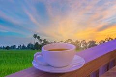 Abstrakte Weichzeichnung ein Schale Cappuccino, heißer Kaffee mit Weiche verwischte Schattenbild der Sonnenuntergang, grünes Feld Lizenzfreie Stockbilder