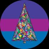 Abstrakte Weihnachtsbaum-Vektorillustration in der modernen Art Hand gezeichneter Hintergrund des neuen Jahres Winterurlaubkarte Lizenzfreie Stockfotografie