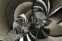 Abstrakte Weinlesebeschaffenheits-Architekturspirale der Treppe, Treppenhaus, Glas, Metall, Stahl Runde Kurvenlinie Geometrie des lizenzfreie abbildung