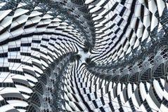 Abstrakte Weinlesebeschaffenheits-Architekturspirale, Glas, Metall, Gewebe Baum strahlt Strahlen Hintergrund abstrakte Fractalbes vektor abbildung