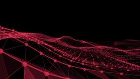 Abstrakte Welle gebildet durch die Linien und Punkte vereinigt in der roten Farbe vektor abbildung