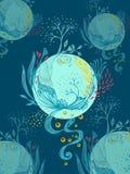 Abstrakte Welt mit Baumblumen lässt Blumenblattplaneten auf dunkelblauem lizenzfreie abbildung
