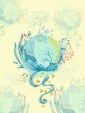 Abstrakte Welt mit Baumblumen lässt Blumenblattplaneten im Blau stock abbildung