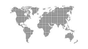 Abstrakte Weltkarte Dunkle Karte der Erde vom Quadrat zeigt auf einen weißen Hintergrund Globales Netzwerk Vektor Stockfoto