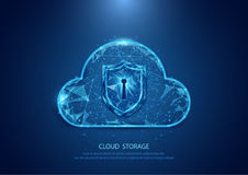 Abstrakte Wolkentechnologie-Sicherheitsform eines sternenklaren Himmelinternets Lizenzfreie Stockfotografie