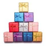 Abstrakte Zahl eines Weihnachtsbaums der Geschenkboxen Farbige Weihnachtsgeschenke Stockbilder